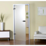 Стеклянная дверь в дизайне ванной комнаты