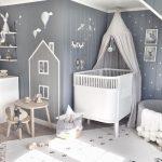 Комната для новорожденного в сером цвете